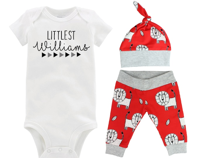 Littlest Personalized Last Name Boy Coming Home Outfit Lions Red Gray Grey Infant Gift Organic Cotton Going Home Baby Shower Boyish Outfit