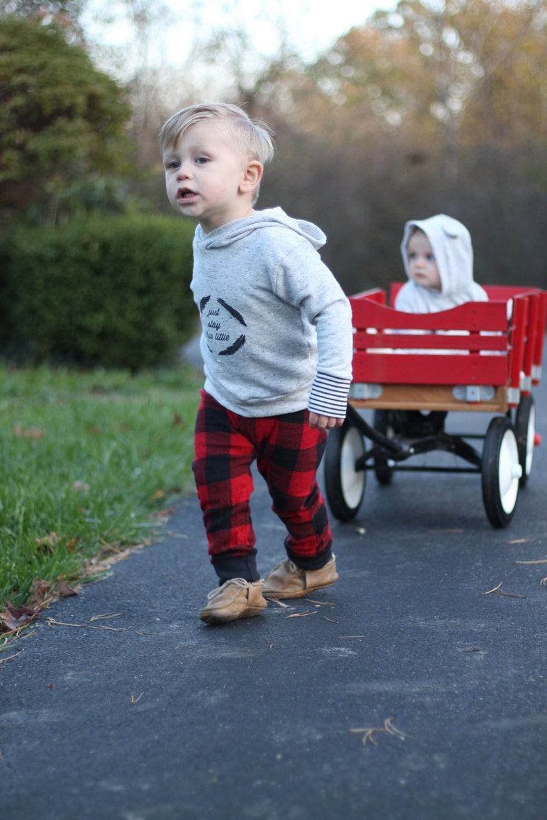 Red Buffalo Plaid Flannel Boy Pants Toddler Pants Fall Winter image 0