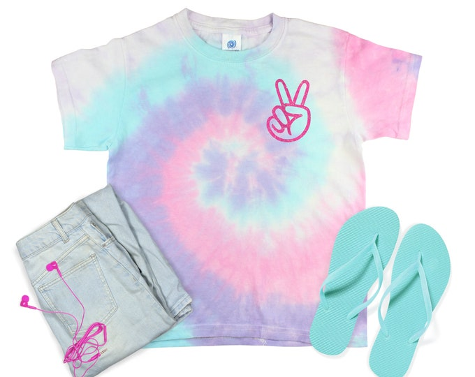 Peace Out Pocket Rainbow Tie Dye Shirt Peace Out Minty Pastel Neon Rainbow Adult Sizes Youth Toddler Unisex T-Shirt Tie Dye Sizes