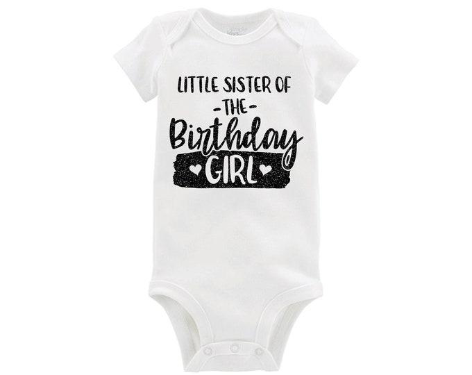 Little Sister of the Birthday Girl Bodysuit Black Glitter