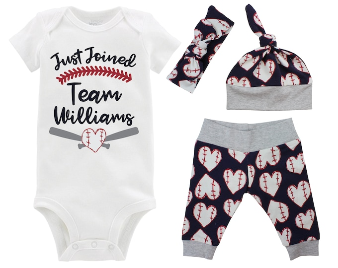 Just Joined Team Personalized Navy Girl Baseball Going Home Outfit Personalized Newborn Baby Infant Set Yoga Leggings Top Knot Hat Headband