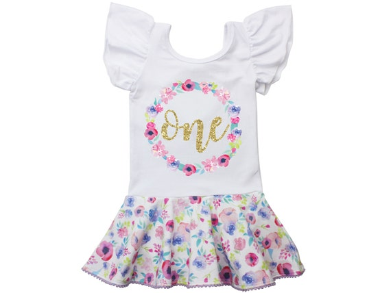 First Birthday Leotard Personalized Gold Watercolor Floral Skirt Leotard with Snaps Twirl Flutter Sleeve Bow Back Ballet Birthday Watercolor