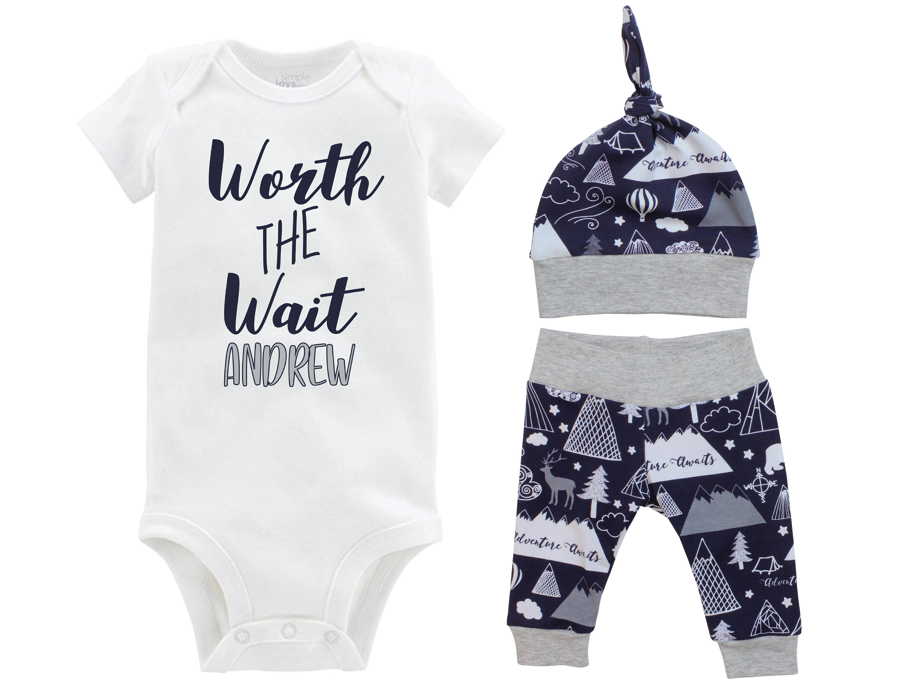 08589de48 Boy Worth the Wait Going Home Outfit Yoga Pants Personalized Navy ...