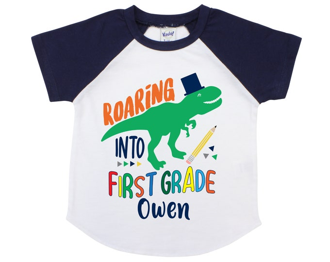 Roaring Into First Grade Personalized Boy Back to School Shirt 1st Grade T-Rex Dinosaur Back to School Shirt Pencil Name Shirt Raglan Boyish