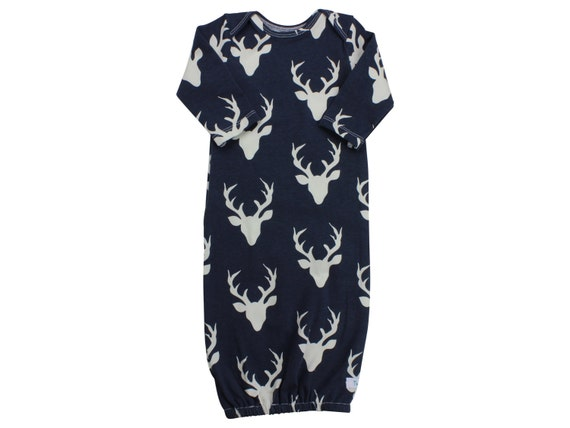 Navy Buck Deer Newborn Baby Boy Gown Navy Deer Gown Gray Deer Boy Infant Gown Newborn Gown Going  Home Outfit Boy Clothing Boy Infant Outfit