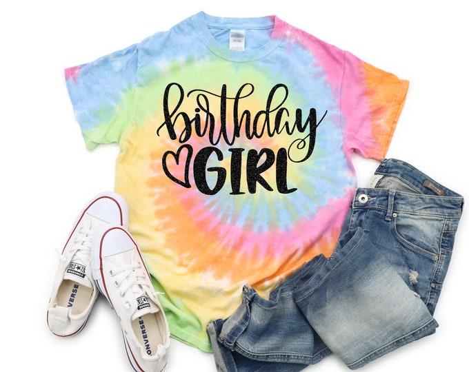 Birthday Girl Neon Tie Dye Shirt Galaxy Bright Black Glitter Vinyl Birthday Girl Shirt Birthday Party Shirt Girl Tie Dye Pastel Bday Shirt
