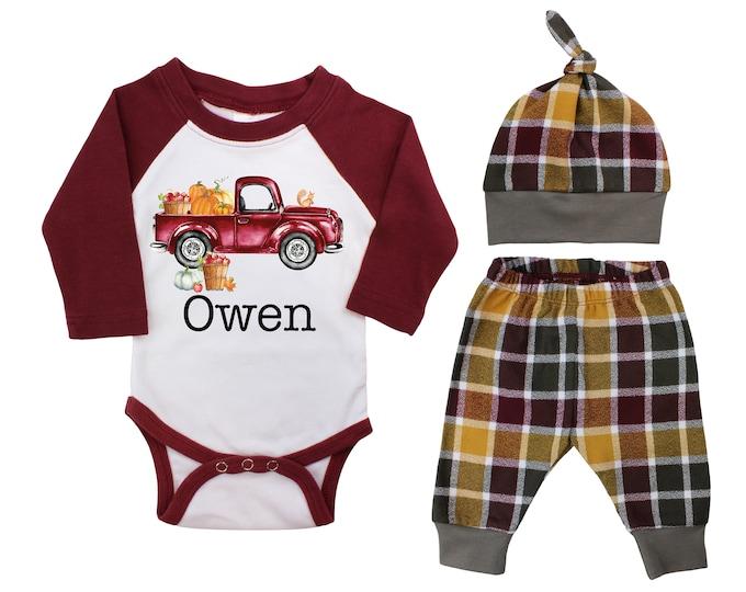 Boy Pumpkin Truck Apple Orchard Outfit Fall Baby Raglan Outfit Fall Plaid Pants Knot Hat Pumpkins Old Truck Maroon Mustard Gray Baby Raglan