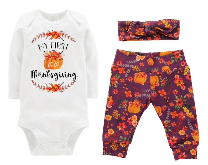 First Thanksgiving Girl Fall Pumpkin Outfit Mauve Watercolor Floral Turkey Yoga Leggings Headband Infant Outfit Pumpkin Orange Dated