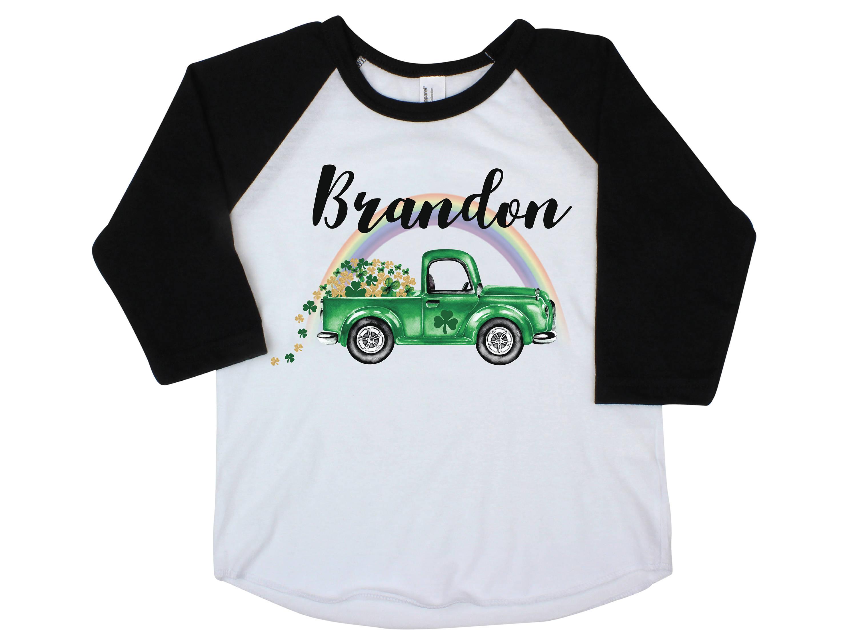 26a8d95d6 Boy St Patrick's Day Shirt Onesie Green Truck Raglan Shamrock Truck ...