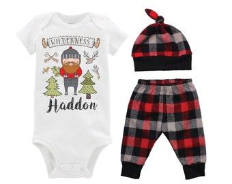 Personalized Lumberjack Outfit Boy Lumberjack Birthday Bodysuit Buffalo Plaid Pants Fall Plaid Winter Plaid Red Black Buffalo Plaid