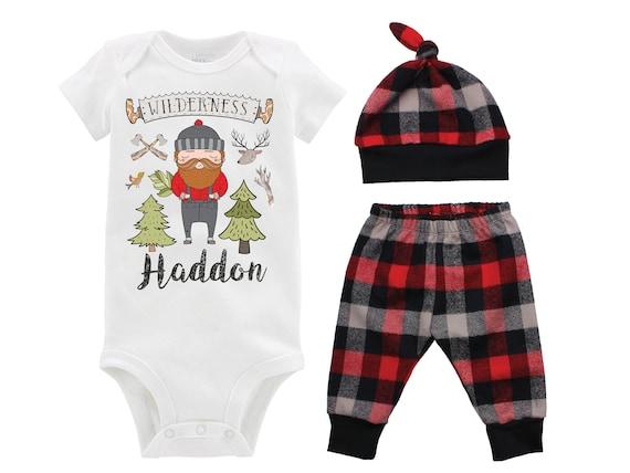 Personalized Lumberjack Onesie Outfit Boy Lumberjack Birthday Bodysuit Buffalo Plaid Pants Fall Plaid Winter Plaid Red Black Buffalo Plaid
