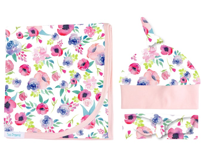 Watercolor Floral Swaddle Set Swaddle Blanket Pink Purple Floral Top Knot Hat Knot Headband Pink Watercolor Jersey Swaddle Baby Blanket