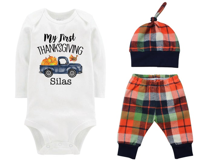 Boy First Thanksgiving Outfit Old Blue Truck Fall Outfit Plaid Pants Knot Hat Turkey Pumpkins Orange Blue Plaid Pants Boyish Thanksgiving