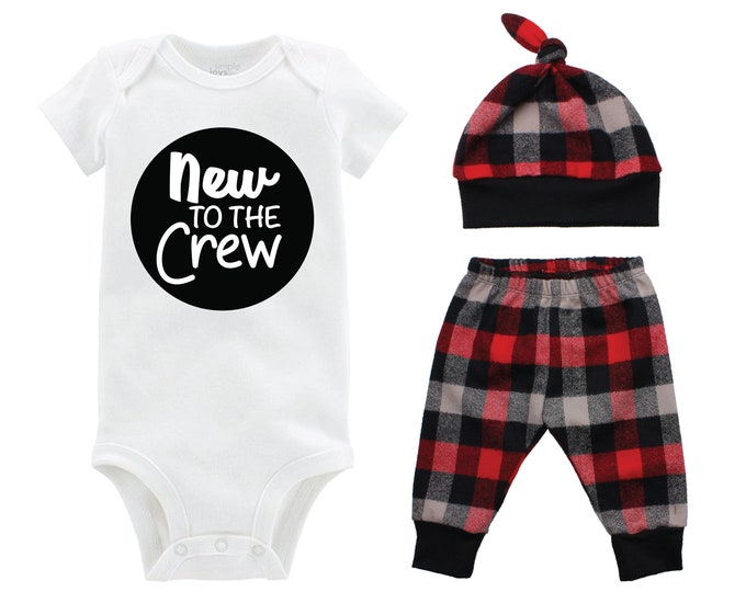 Boy New to the Crew Coming Home Outfit Going Home Outfit Red Buffalo Plaid Pants Winter Baby Outfit Fall Baby Outfit Buffalo Check