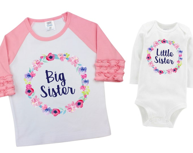 Big Sister Little Sister Matching Shirts Watercolor Floral Sister Ruffle Raglan Shirt Bodysuit Flutter Sleeve Girl Shirt Flowers Pink Purple