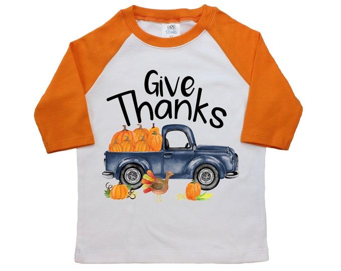 Boy Give Thanks Thanksgiving Shirt Orange Raglan Black Raglan Boyish Thanksgiving Old Blue Pumpkin Truck Turkey Boyish Truck Shirt