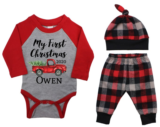 My First Christmas Forest Red Truck 2021 Personalized Outfit Winter Boy Raglan Outfit Christmas Tree Plaid Pants Knot Hat Gray Baby Raglan