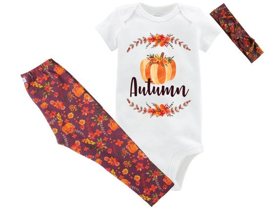 Personalized Fall Baby Outfit Floral Leggings Girl Pumpkin Leggings Onesie Bodysuit Fall Baby Outfit Pumpkin Outfit Fall Floral Headband