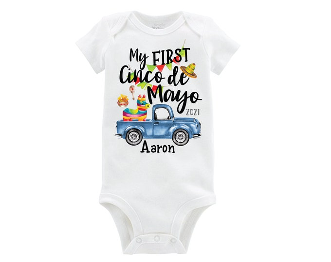 My First Cinco de Mayo Bodysuit Blue Truck Fiesta Boy Baby Personalized Monogrammed Long or Short Sleeve Tacos Piñata Maraca 5th of May