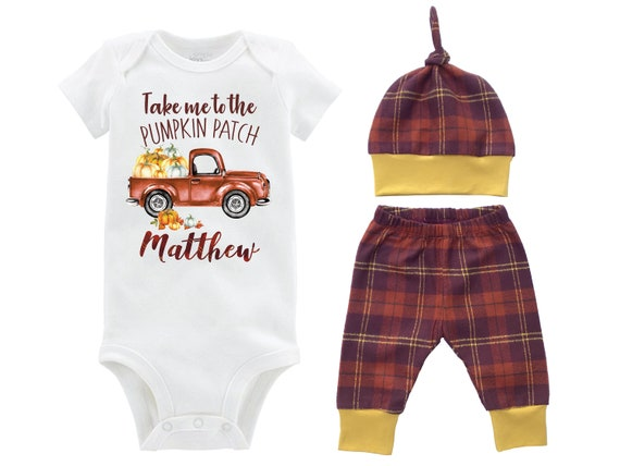 Boy Pumpkin Patch Onesie Outfit Mustard Fall Boy Pumpkin Truck Shirt Outfit Bodysuit Personalized Outfit Plaid Pants Baby Gift Top Knot Hat