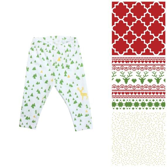 Fairisle Deer Baby Leggings Christmas Leggings Red and Green Leggings Girl Leggings Holiday Leggings Christmas Baby