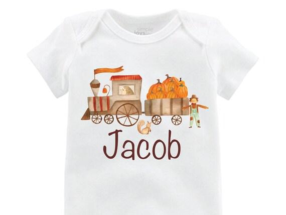 Boy Pumpkin Train Shirt Personalized Plaid Fall Boy Shirt Pumpkin Patch Shirt Halloween Shirt Boy Train Shirt Woodland Raglan Shirt Fall