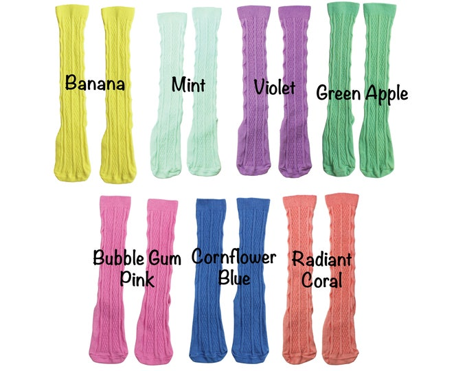 Spring Knee High Socks Mint Hand Dyed Knee High Socks Coral Pink Blue Yellow Toddler Knee High Socks Baby Socks Spring Summer Toddler Knee