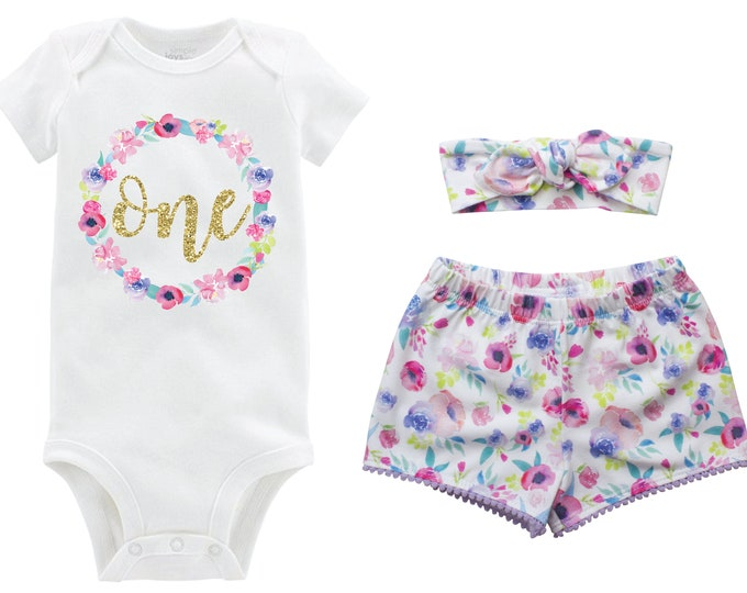 First Birthday Gold Glitter Pastel Outfit Shorts Headband Watercolor Floral Birthday Monogram Summer Shorts Pom Pom Shorts Outfit