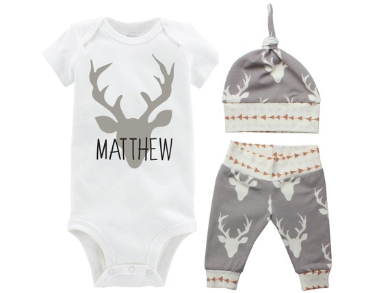 Personalized Boy Going Home Set Deer Gray Onesie Bodysuit Infant Gift Set Monogram Boy Coming Home Outfit Buck Deer Grey Gift