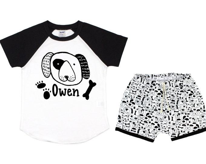 Boy Puppy Dog Raglan Shirt Personalized Outfit Dog Baby Toddler Birthday Party Puppy Paw Print Shirt Boy Dog Puppy Black Unisex T-Shirt