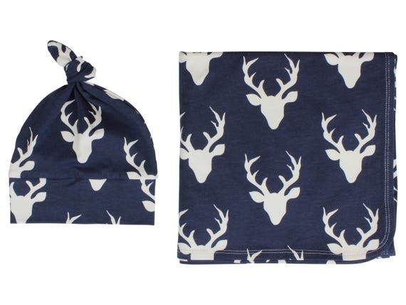 Navy Buck Deer Swaddle Set Stag Swaddle Blanket Navy Blue and White Boy Top Knot Hat Boy Jersey Swaddle Baby Blanket Stretch Blanket