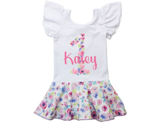 First Birthday Leotard Personalized Watercolor Floral Skirt Leotard with Snaps Twirl Flutter Sleeve Bow Back Ballet Birthday Watercolor