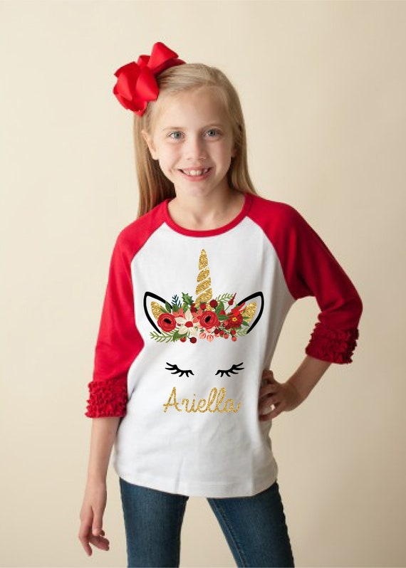 Christmas Unicorn Shirt Personalized Raglan Red Ruffle Raglan Bodysuit Onesie Gold Unicorn Christmas Floral Holiday Unicorn Holly Berries