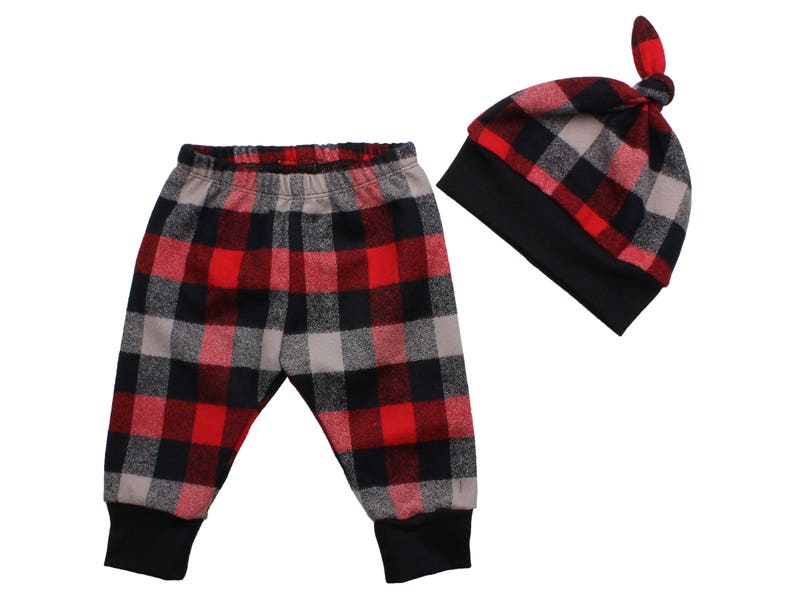 a1d62e00817 Red Buffalo Plaid Flannel Boy Pants Toddler Pants Fall Winter