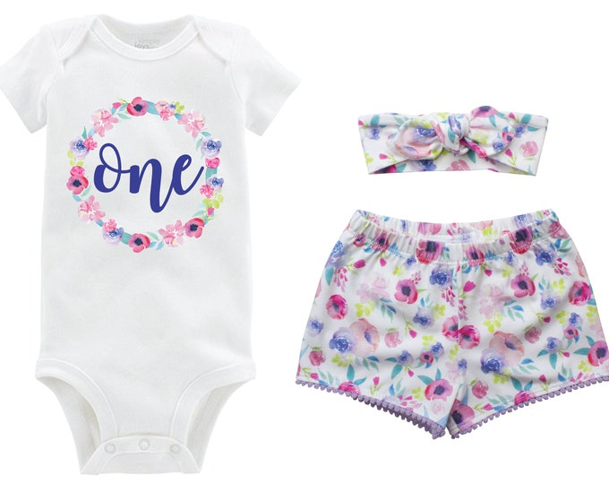 First Birthday Blue Watercolor Pastel Outfit Shorts Headband Watercolor Floral Birthday Monogram Summer Shorts Pom Pom Shorts Outfit