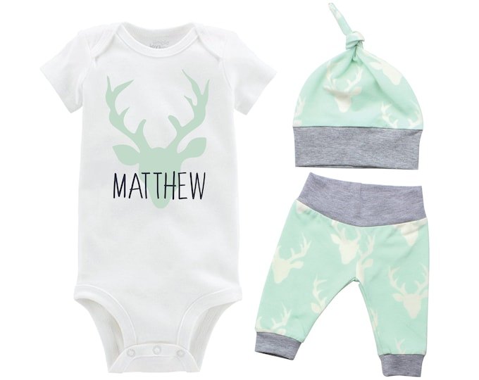 Personalized Deer Boy Going Home Set Monogram Mint Gray Bodysuit Infant Gift Set Boy Coming Home Outfit Mint Grey Baby Shower Gift