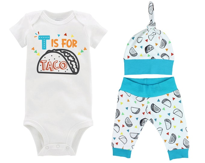 Boy Taco Outfit T is for Tacos Baby Onesie Taco Fiesta Nachos Top Knot Hat Shirt Boy Taco Tuesday Party Unisex Pants Knot Hat
