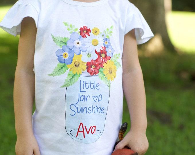 Little Jar of Sunshine Shirt Personalized Onesie Flutter Sleeve Mason Jar Shirt Black Raglan Birthday Shirt Girl Shirt Monogram Mason Jar