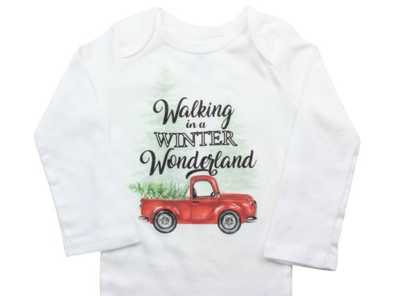 Walking in a Winter Wonderland Shirt Red Truck Christmas Bodysuit Boy Christmas Outfit Christmas Truck Tree Shirt Red Boy Winter Bodysuit
