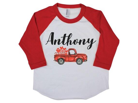 Boy Valentine Shirt Onesie Red Raglan Truck Shirt Heart Shirt Valentine's Day Boy Shirt Boy Baby Onesie Boy Bodysuit Boy Raglan