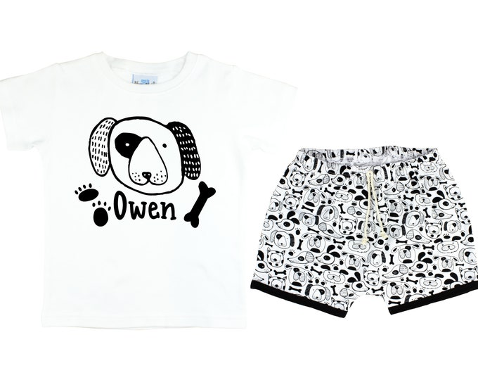 Boy Puppy Dog Short Sleeve Shirt Personalized Outfit Dog Baby Toddler Birthday Party Puppy Paw Print Shirt Boy Puppy Dog Unisex T-Shirt