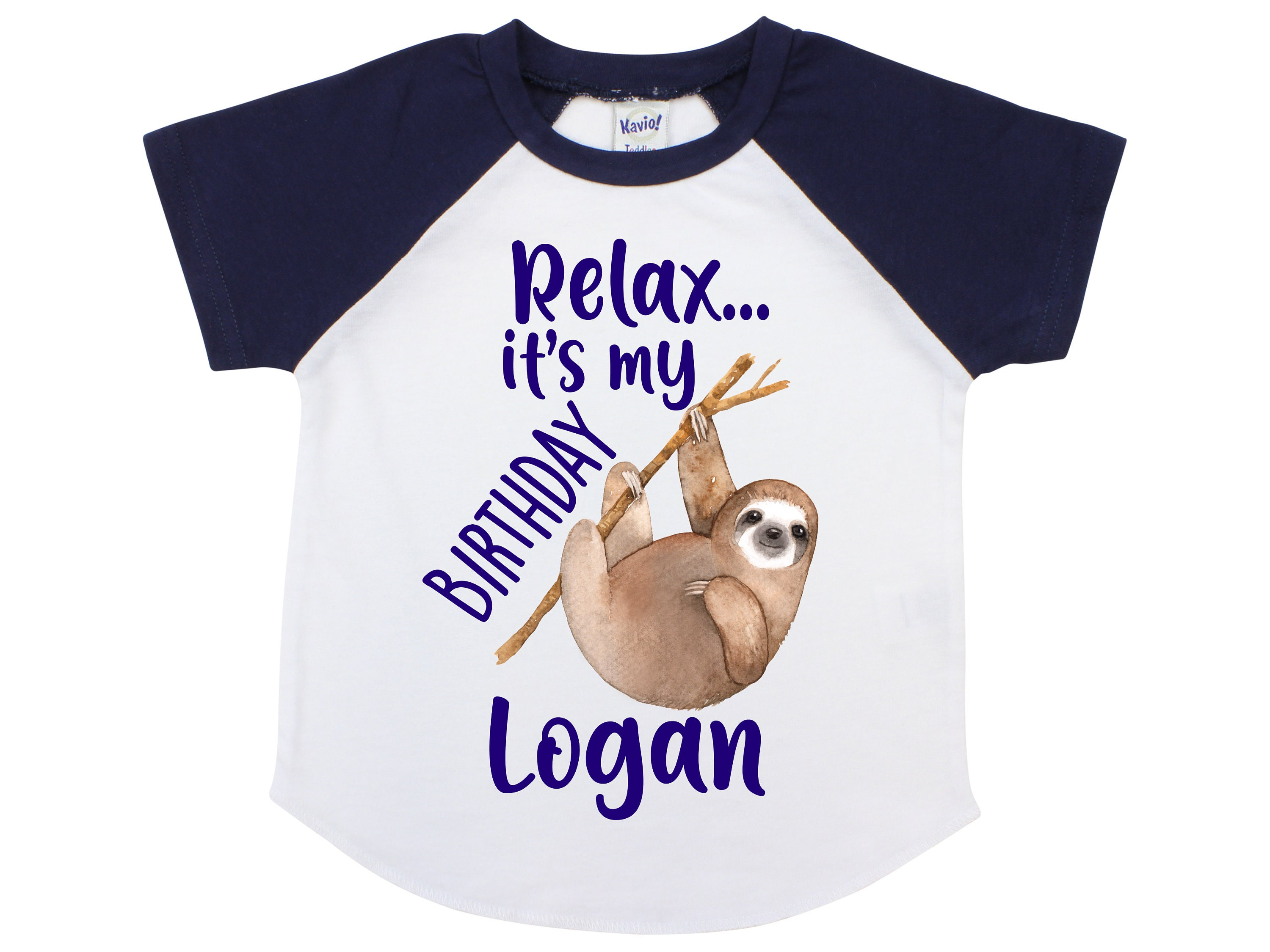 Sloth Birthday Shirt Boy Relax Its My Navy Raglan Personalized Party Gallery Photo