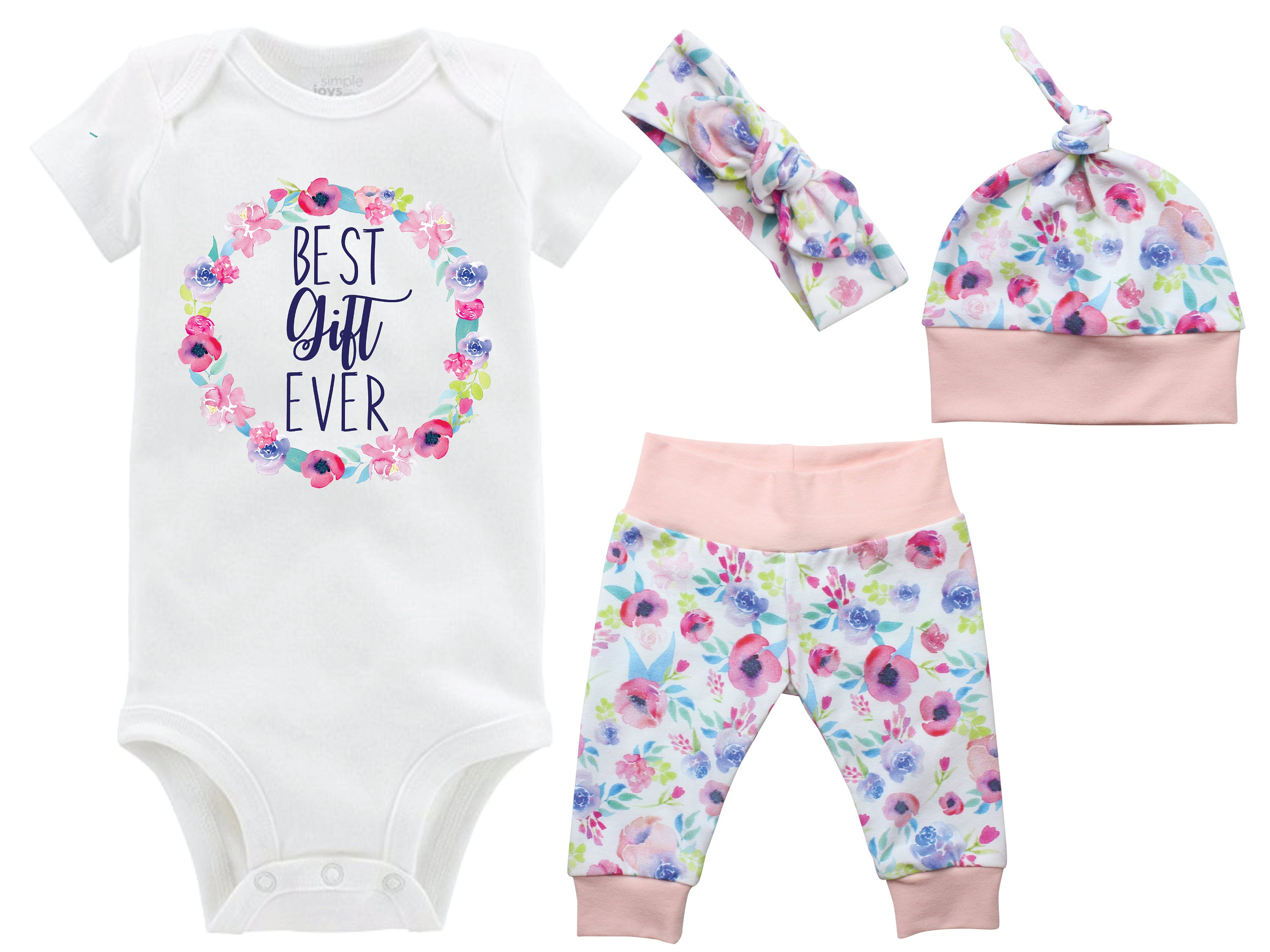 80d97730c Best Gift Ever Girl Coming Home Outfit Onesie Infertility Onesie Infant  Watercolor Floral Yoga Leggings Top Knot Hat Headband Blessing. gallery  photo ...