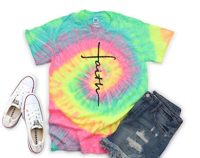 Faith Girl Neon Pastel Tie Dye Shirt Galaxy Bright Black Glitter Vinyl Inspirational Shirt Party Shirt Girl Tie Dye Motivational Shirt