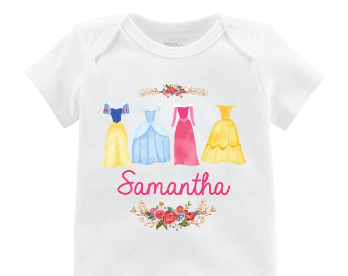 Princess Dresses Cinderella Sleeping Beauty and the Beast Snow White Personalized Princess Shirt Bodysuit Flutter Shirt Watercolor Floral