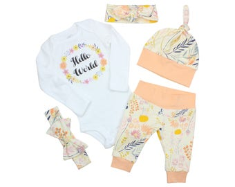 Hello World Newborn Coming Home Set Coming Home Outfit Bodysuit Infant Outfit Wildflower Baby Leggings Top Knot Hat Knot Headband Bow