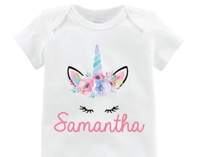 Unicorn Face Personalized Bodysuit Flutter Sleeve Unicorn Shirt Black Raglan Birthday Shirt Girl Shirt Monogram Shirt Spring Flowers