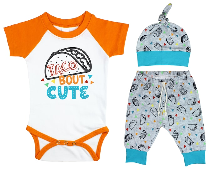 Boy Taco Raglan Outfit Taco Bout Cute Baby Nachos Fiesta Onesie Taco Tuesday Top Knot Hat Shirt Boy Taco Tuesday Party Unisex Pants Knot Hat