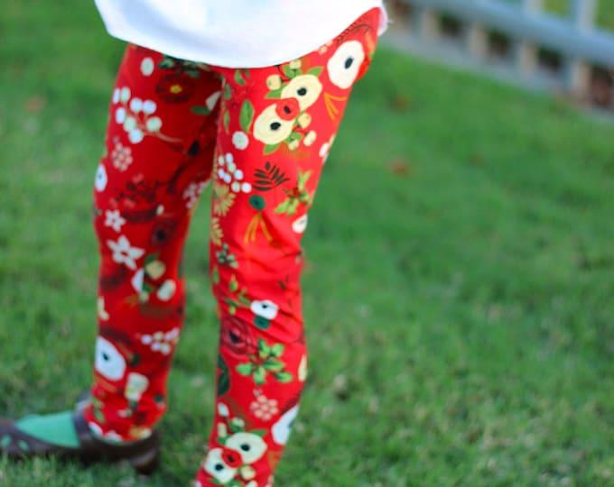 Red Christmas Leggings Christmas Baby Leggings Holiday Leggings Winter Red Floral Berries Holly Flowers Toddler Leggings Girl