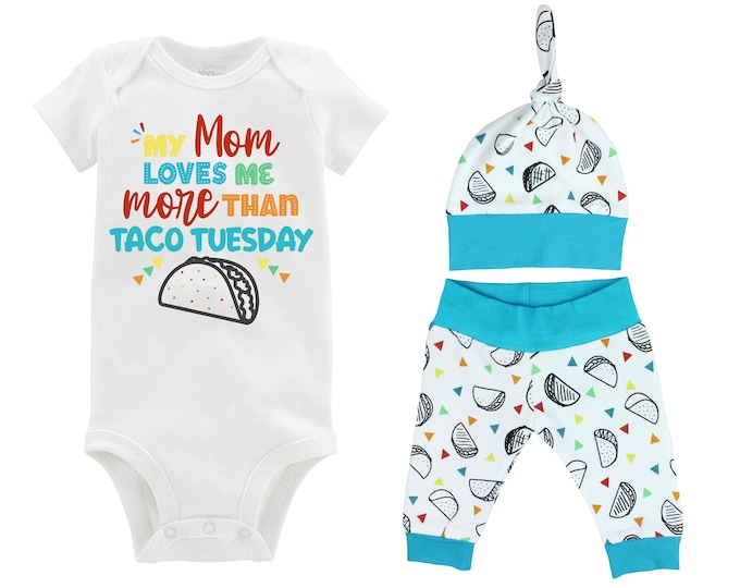 Boy Taco Outfit My Mom Loves Me More Than Taco Tuesday Baby Onesie Taco Fiesta Top Knot Hat Boy Taco Tuesday Party Unisex Pants Knot Hat